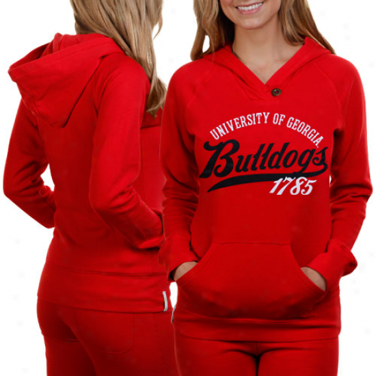 Georgia Bulldogs Ladies Red Far Out Pullover Hoodie Sweatshirt