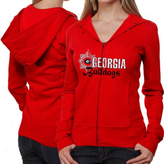 Georgia Bulldogs Ladies Res Puff Sleeve Filled Zip Hoodie Jacket