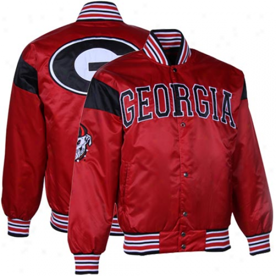 Georgia Bulldogs Red Big League Nylon Satin Full Button Jacket