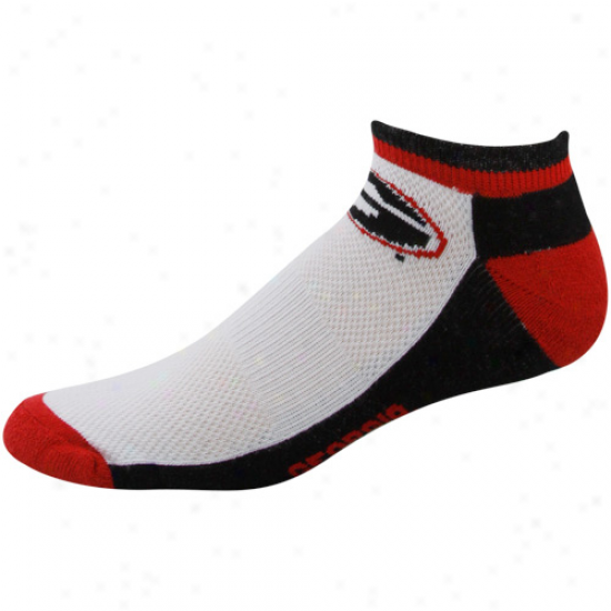 Georgia Bulldogs White Color Block Half Cusion Crew Socks