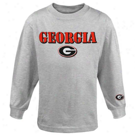 Georgia Bulldogs Yohth Logo Stamp Long Sleeve T-shirt - Ash