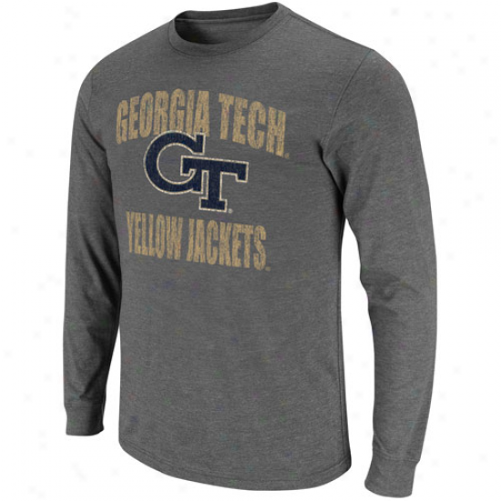 Georgia Tech Yellow Jackets All American Long Sleeve T-snirt - Charcoak