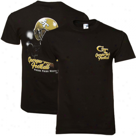 Georgia Tech Yellow Jackets Black Helmet In Air T-shirt