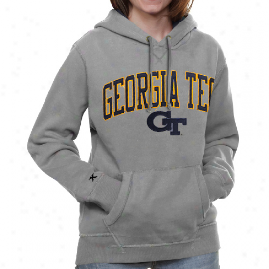 Georgia Tech Yellow Jackets Ladies Ash Amy Fleece Pullover Hoodie Sweatshirt