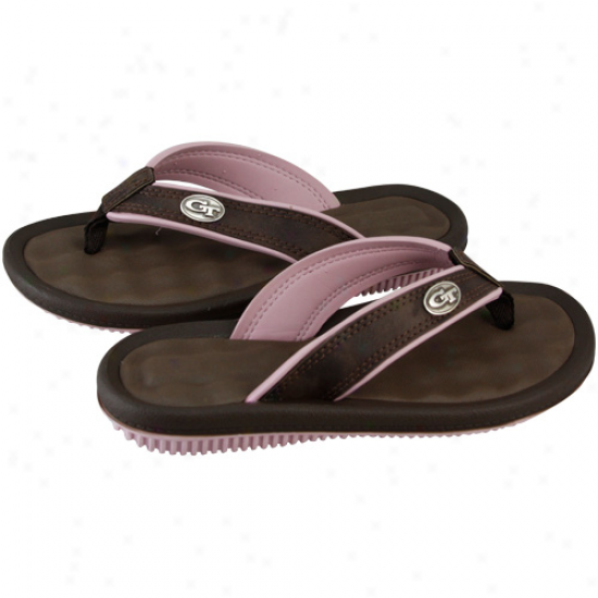 Georgia Tech Yellow Jackets Ladies Brown-pink Team Logo Emble mFlip Flops