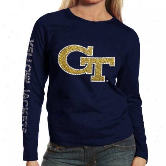 Georgia Tech Yellow Jackets Ladies Navy Blue Taylor Long Sleeve T-shirt