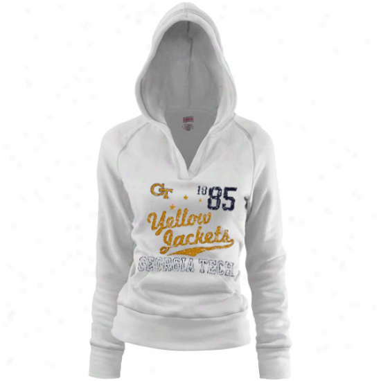 Georgia Tech Yellow Jackets Ladies White Rugby Distressed Deep V-neck Hoody Sweatshirt
