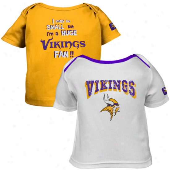 Gerber Minnesota Vikings Infant White-gold 2-pack Big Fan T-shirt Set