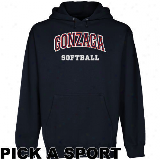 Gonzaga Bulldogs Navy Blue Custom Sport Arch Applique Midweight Pullover Hoody -