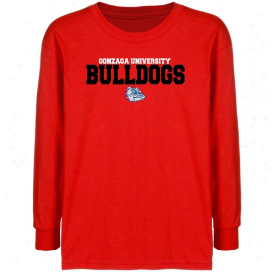 Gonzaga Bulldogs Youth Red University Name Long Sleeve T-shirt