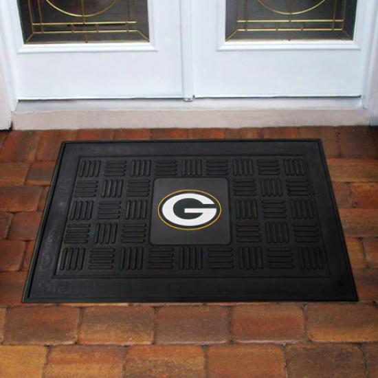 """""""green Bay Packers 18"""""""" X 30"""""""" Black Team Logo Rubber Mat"""""""
