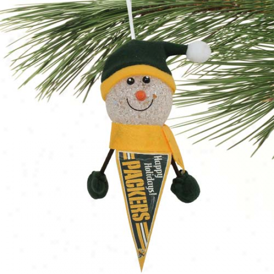 Green Bay Packers 5'' Light-up Snowman PennantO rnament