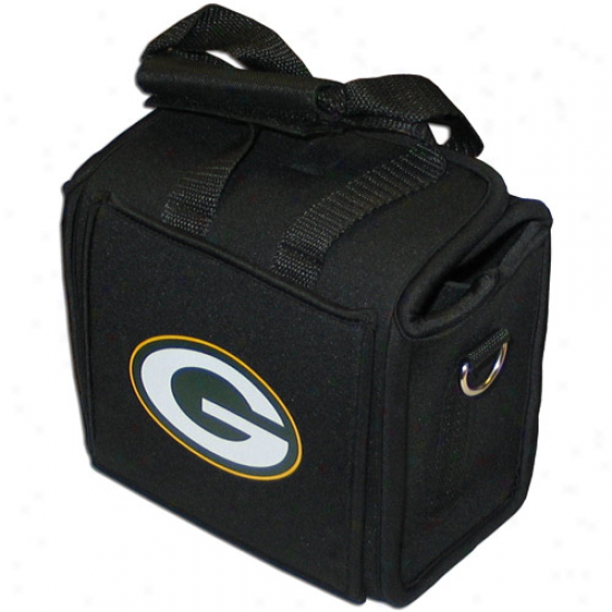 Green Bay Packers Neoprene Six Pack Can Tote Cooler - Black