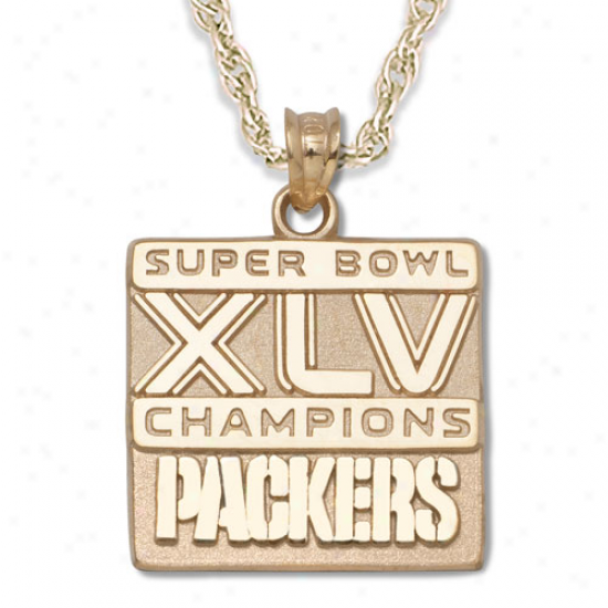Grren Ba Packers Super Bowl Xlv Champione 10kt Gold Charm Necklace