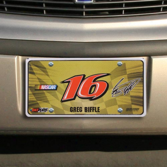Greg Biffle Checkered Flag License Plate