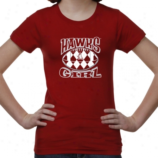 Hartford Hawks Youth Argyle Girl T-shirt - Red