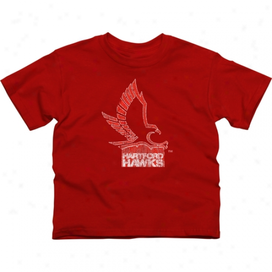 Hartford Hawks Youth Distressed Primary T-shirt - Red