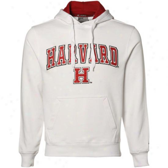 Harvard Crimson White Automatic Pullover Hoody Sweatshirt