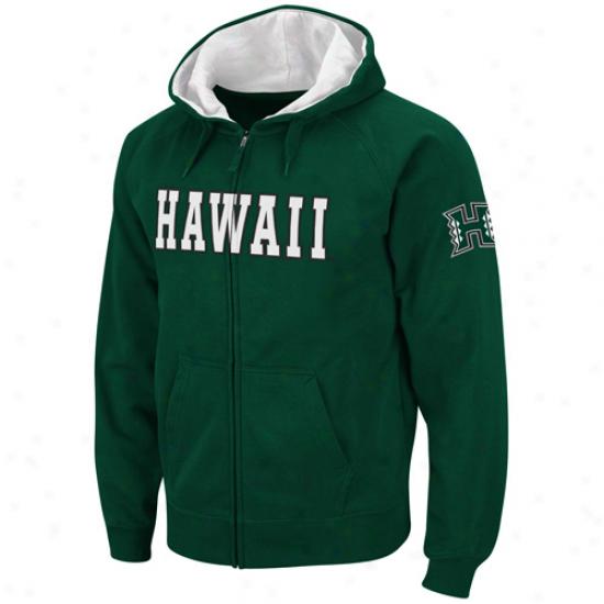 Hawaii Warriors Green Classic Twill Ii Full Zip Hoodie Sweatshirt