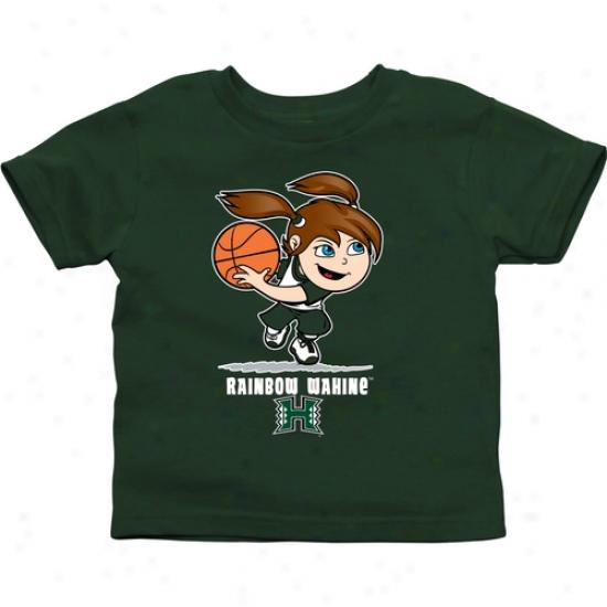 Hawaii Warriors Toddler Girls Basketball T-shirt - Green