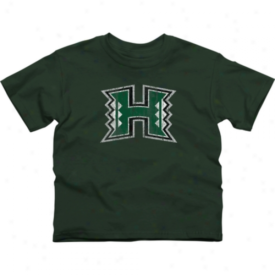 Hawaii Warriors Youth Distressed Primary T-shirt - Green