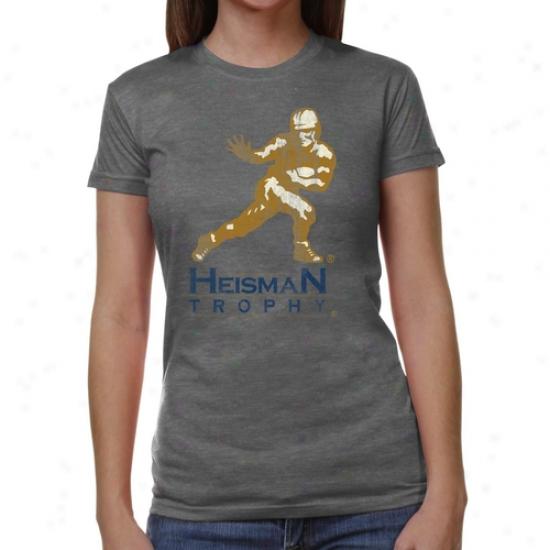 Heisman Trophy Ladies Distfessed Logo Junior's Tri-blend T-shirt - Ash