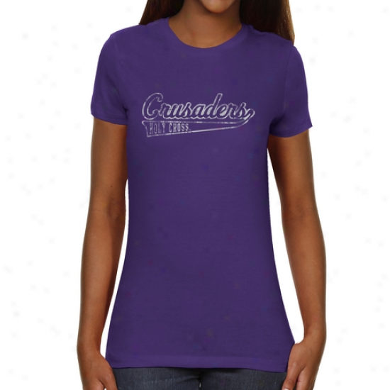 Holy Cross Crusaders Ladies Swept Away Slim Fit T-shirt - Purple