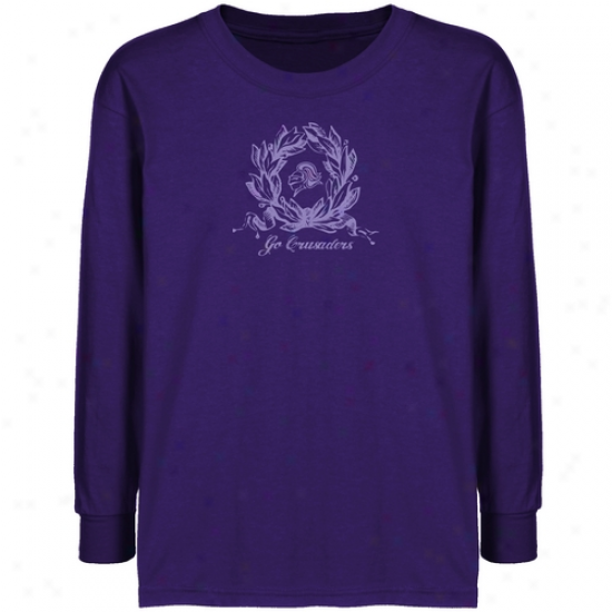 Holy Cross Crusaders Youth Purple Wreath T-shirt