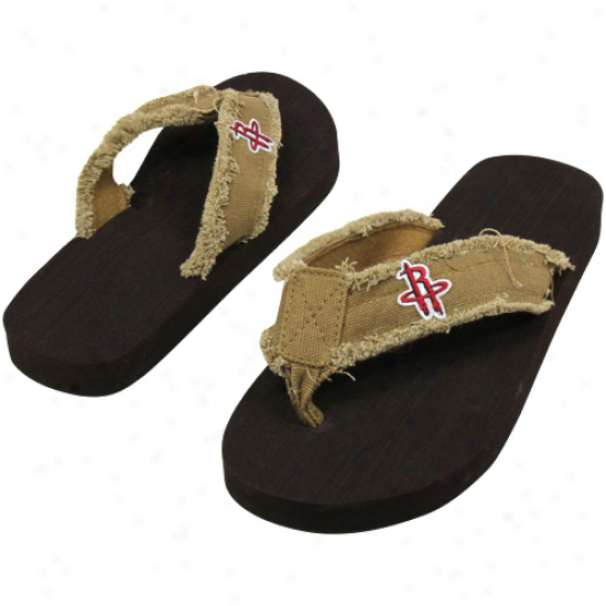 Houston Rockets Unisex Frayed Flip Flops - Khaki