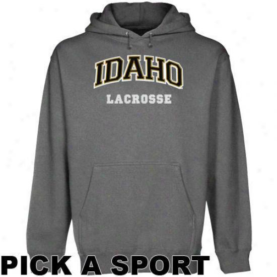 Idaho Vandals Gunmetal Custom Sport Arch Applisue Midweight Pullover Hoody -