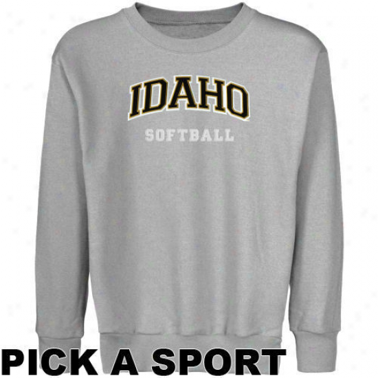 Idaho Vandals Youth Ash Custom Sport Arch Applique Crew Neck Fleece Sweatshirt -