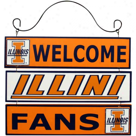 Illinois Fighting Illini 12'' X 9.5'' Wooden Welcome Sign