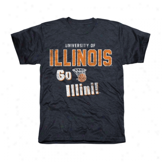 Illinois Fighting Iklini Cheering Section Tri-blend T-shirt - Navy Pedantic