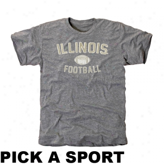 Illinois Fihgting Illini Legacy Tri-blend T-shirt - Ash