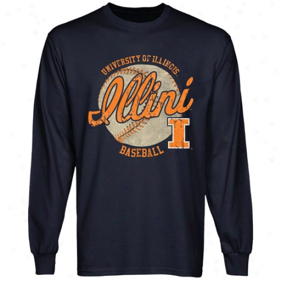 Illinois Fighting Illini Original Pastime Long Sleeve T-shirt - Navy Blue