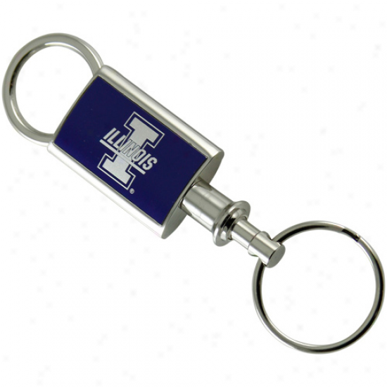 Illinois Fighting Illini Silvertone-navy Blue Valet Keychain