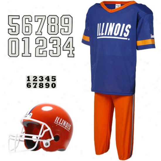 Illinois Fighting Illini Youth Navy Blue-orange Deluxe Team Unjform Set-