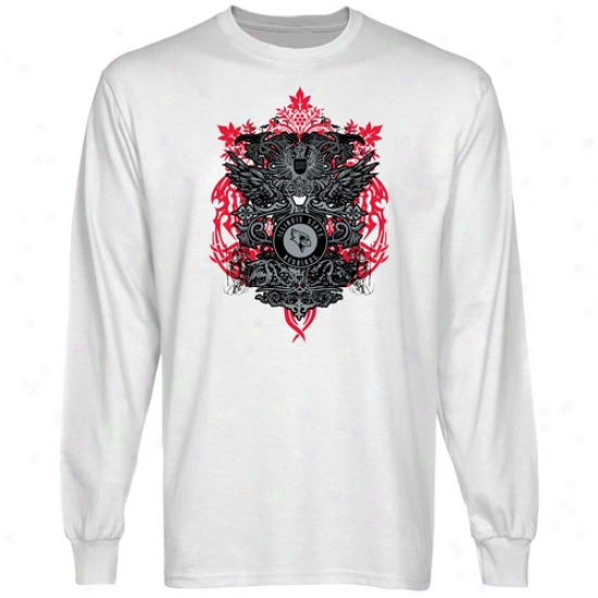 Illinois State Redbirds White Shield Of Arms Long Sleeve T-shirt
