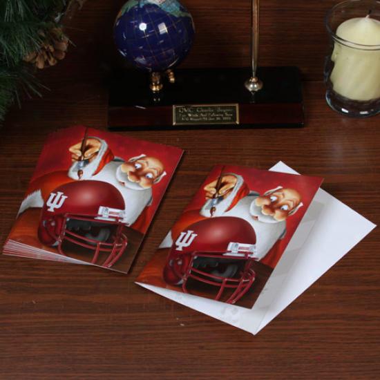 Indiana Hoosiers 12-pack Single Santa Painting Sketch Christmas Cards