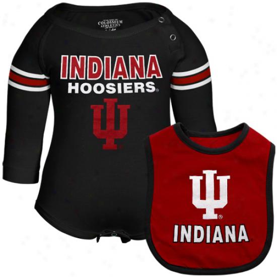 Indiana Hoosiers Infant Bleacher Creeper & Bib Set - Black