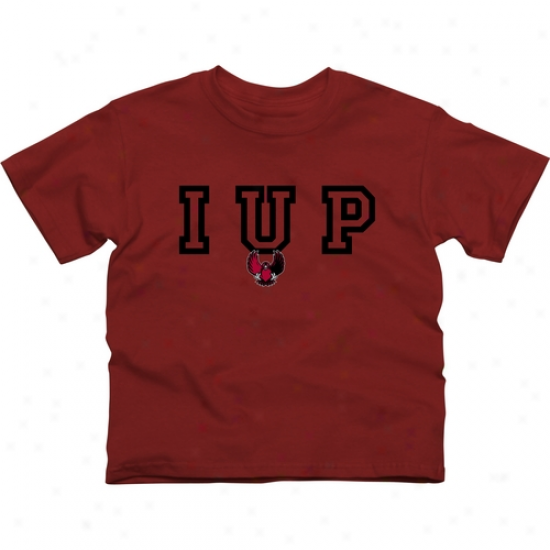 Indiana University Of Pennsylvania Crimson Hawks Youth Wordmark Logo T-shirt - Crumson