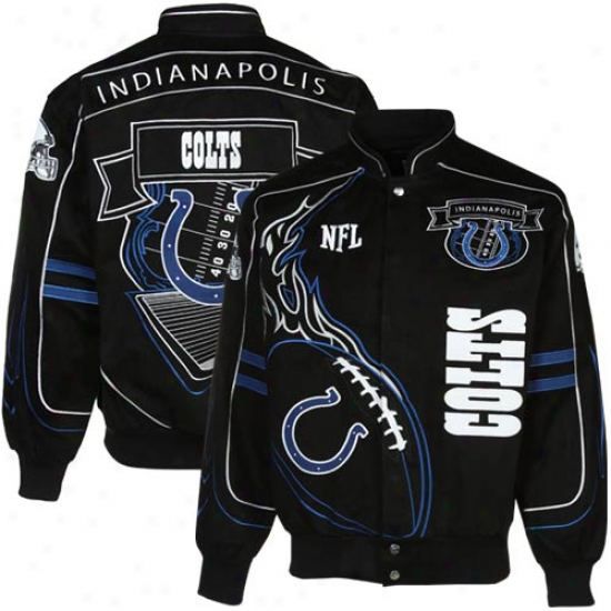 Indianapolis Colts Black Attached Fire Full Button Twill Jcket