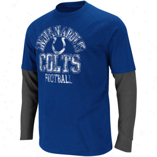 Indianapolis Colts Read & React Double Layer Long Sleeve Premium T-shirt - Noble Blue