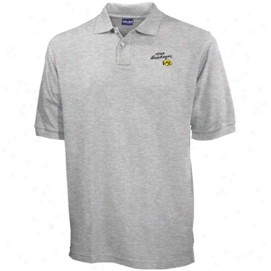 Iowa Hawkeyes Ash Blazer Logo Pique Polo