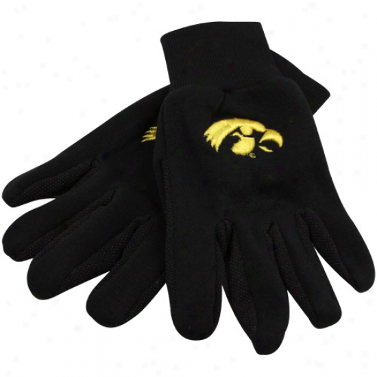 Iowa Hawkeyes Black Team Work Gloves
