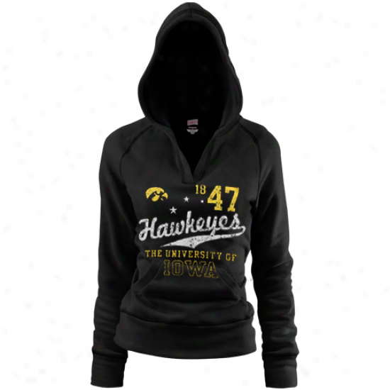Iowa Hawkeyes Ladies Black Rugby Distrwssed Deep V-neck Hoody Sweatshirt