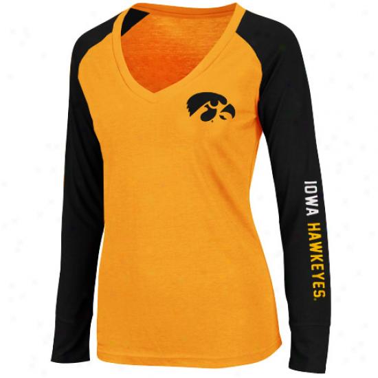 Iowa Hawkeyes Ladies Sequoia Long Sleeve Raglan V-neck T-shirt - Gold/black