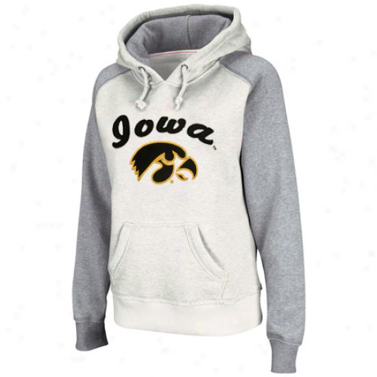 Iowa Hawkeyes Ladies Stone-ash Mesa Logo Pullover Hoodie Sweatshirt