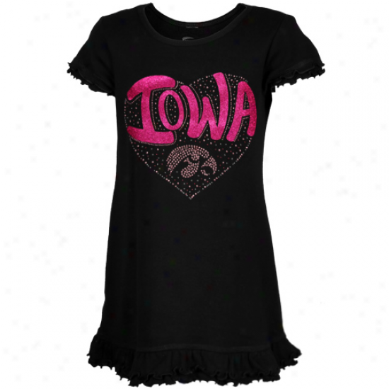 Iowa Hawkeyes Toddler Girls Black Glitter Heart Logo Dress