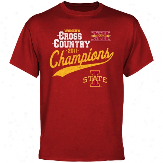 Iowa State Cyflones 2011 Great 12 Women's Cross Country Champions T-shirt - Cardinao